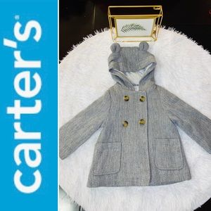 Carter's Gray Hooded Pea Coat with Bear Ears 18m